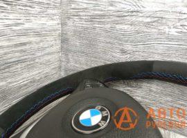 Перетянутый руль в кожу с алькантарой BMW X5 2 поколение (E70) 2007 вид сбоку - 4