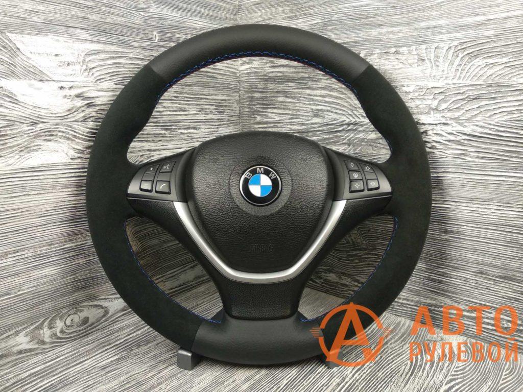 Перетянутый руль в кожу с алькантарой BMW X5 2 поколение (E70) 2007