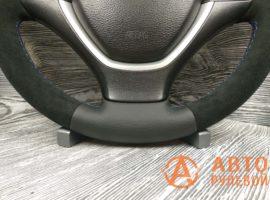 Перетянутый руль в кожу с алькантарой BMW X5 2 поколение (E70) 2007 - 4