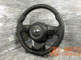 Перетянутый руль в кожу Kia Optima 3 поколение (TF) — рестайлинг 2014 вид сбоку - 1