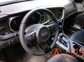 Перетянутый руль в кожу Kia Optima 3 поколение (TF) — рестайлинг 2014 установлен на место